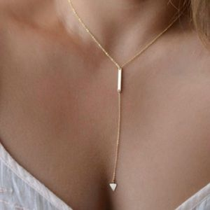 Bar & Triangle Gold Arrow Tassel Dainty Necklace